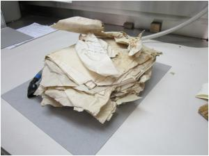 Water-damaged archival records were often distorted and required careful handling to permit assessment and further treatment
