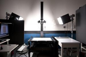 Imaging equipment includes a camera, lighting, and a computer as well as a heavy-duty copy stand to dampen any vibrations that would affect image sharpness